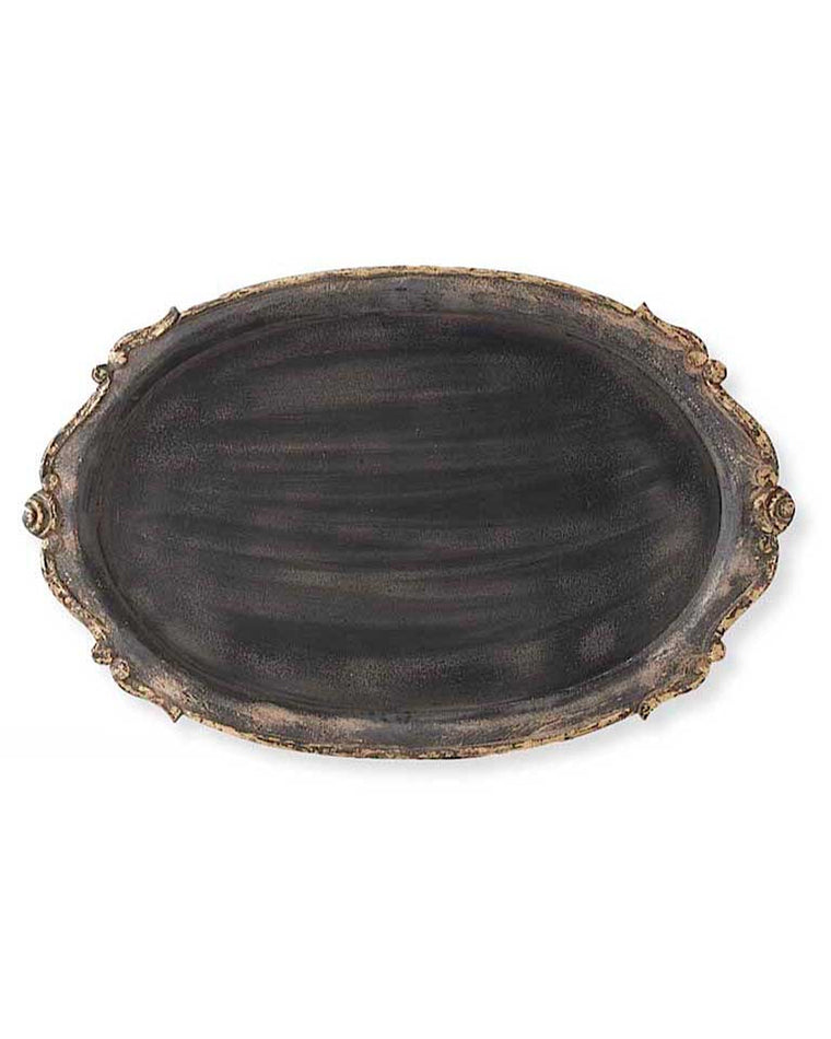 Black Wood Oval Tray
