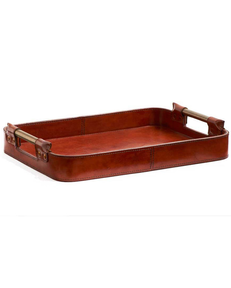 Copper Leather Tray with Brass Handles