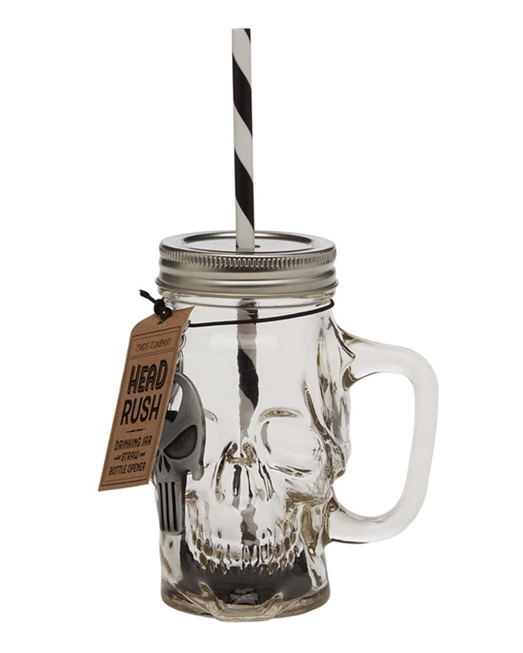 Head Rush Skull Drink Jar and Bottle Opener Set