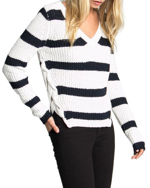 Victory Stripe V-Neck Sweater