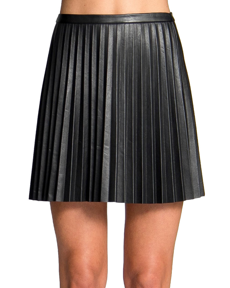 Camellia Vegan Leather Pleated Skirt
