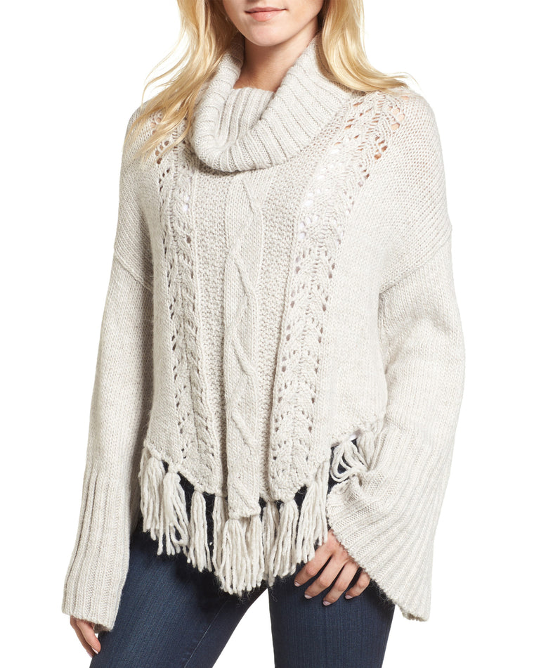 Prilla Fringe Cowl Neck Sweater