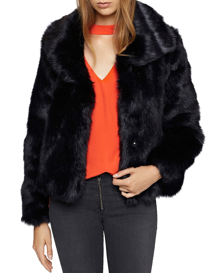 Penelope Navy Faux Fur Coat