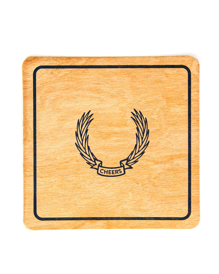 Cheers Letterpress Wood Coaster Set (Set of 12)