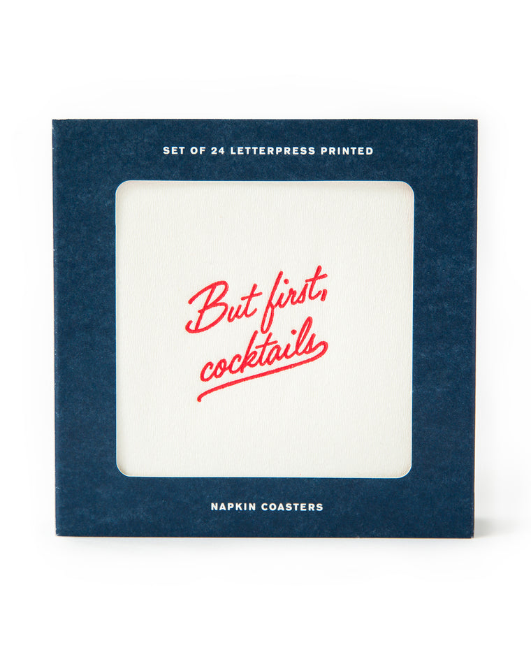 But First, Cocktails Napkin Coasters (Set of 24)