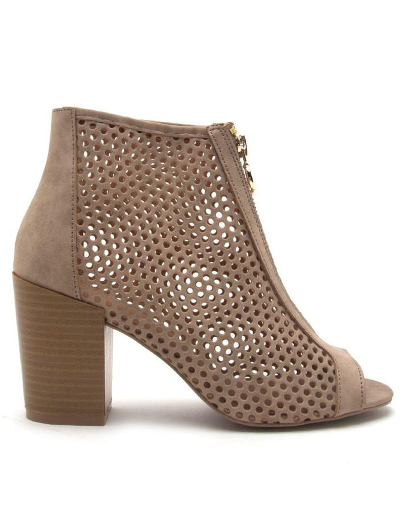 Caught My Eye Perforated Caged Booties