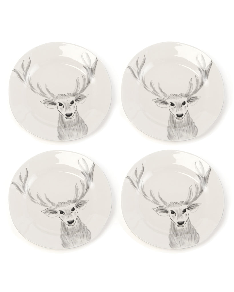Whimsical Gray Deer Plates (Set of 4)