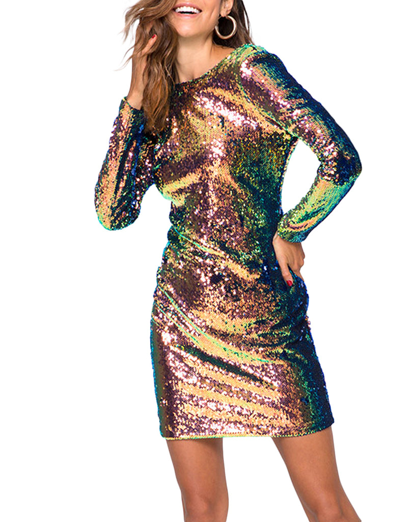 Gabby Fish Scale Sequin Backless Dress