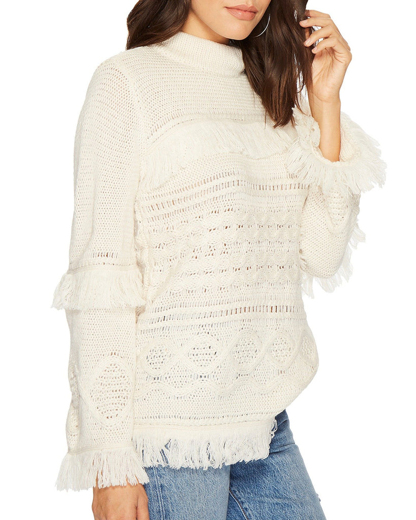 Baker Cable Knit Fringe Sweater