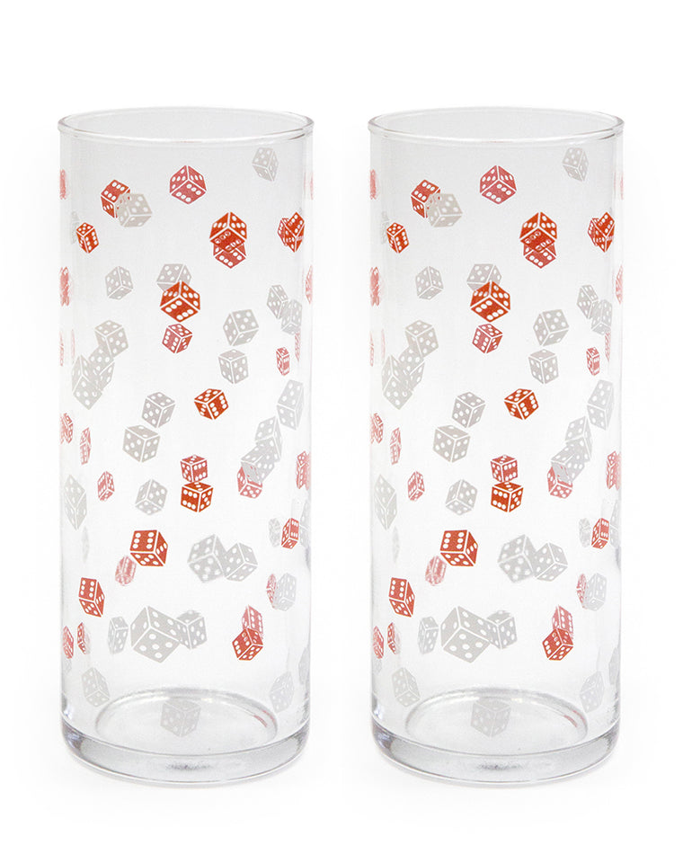 Dice Print Highball Glasses (Set of 2)