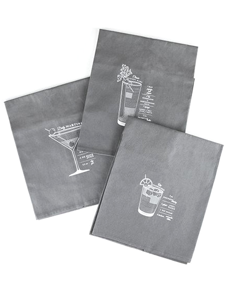 Bar Cart Cocktail Towel Set (Set of 3)