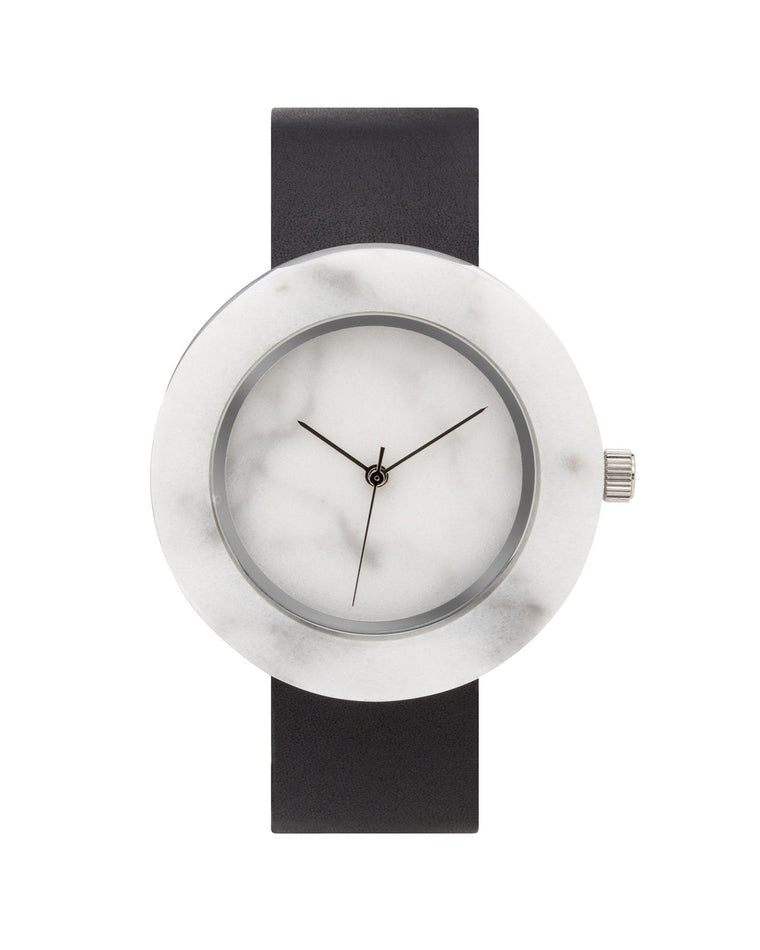 'Mason' Circular White Marble Leather Strap Watch