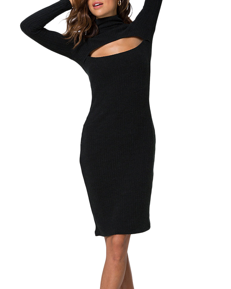 Mya Ribbed Cut-Out Midi Dress