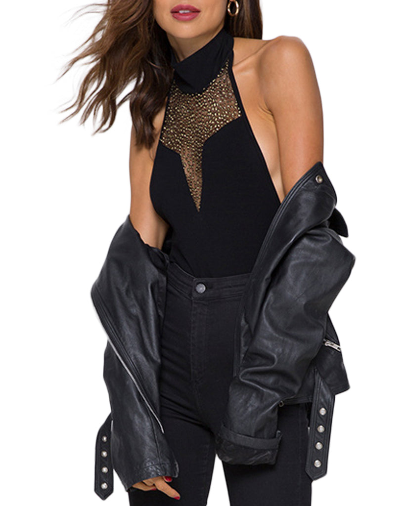 Myla Mesh V-Neck Sleeveless Bodysuit