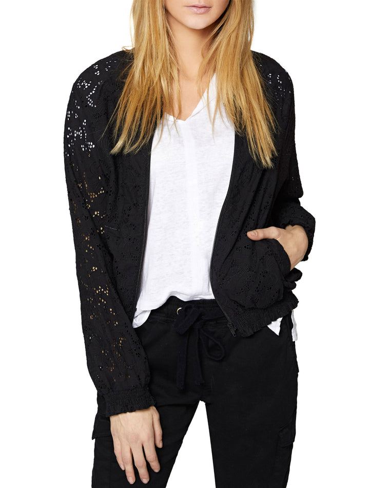 In Bloom Eyelet Bomber Jacket
