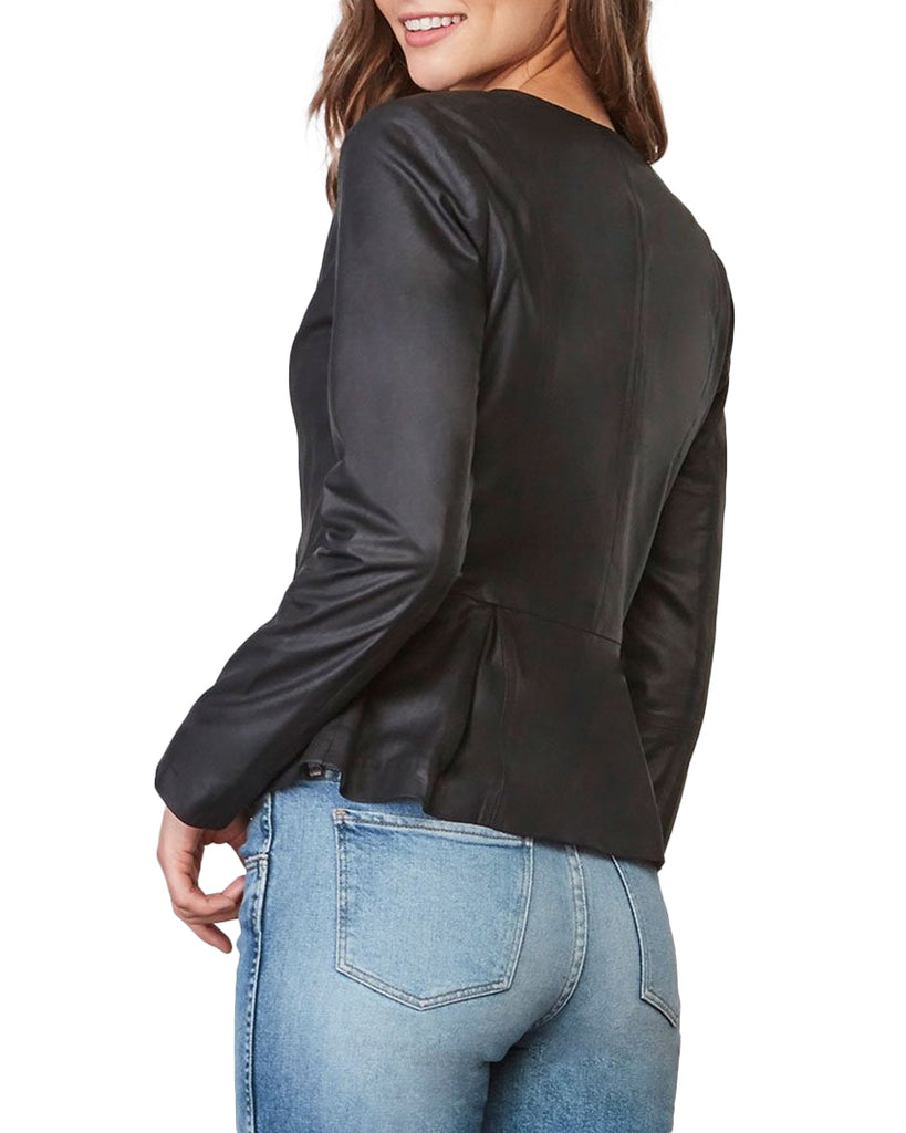 Clary Peplum Leather Jacket