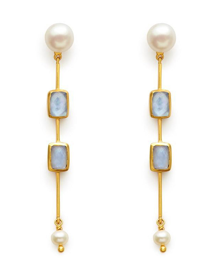 Clara Double Stone Drop Earrings