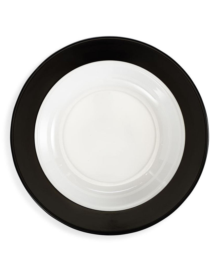 'Moonbeam' Black Ring Melamine Pasta Bowl Set (Set of 4)