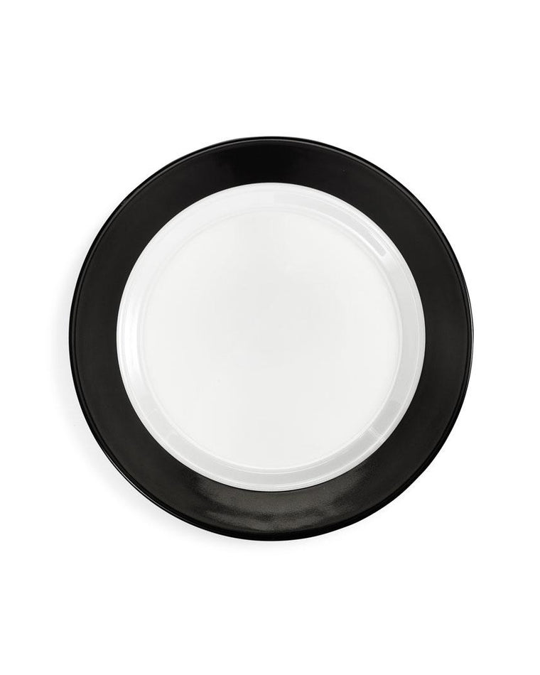 'Moonbeam' Black Ring Melamine Salad Plate Set (Set of 4)