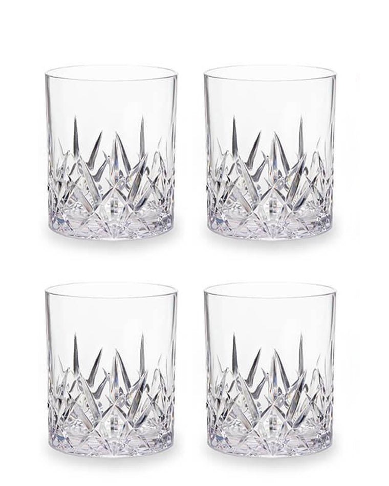 'Aurora' Crystal Cut Acrylic Tumbler Glasses (Set of 4)