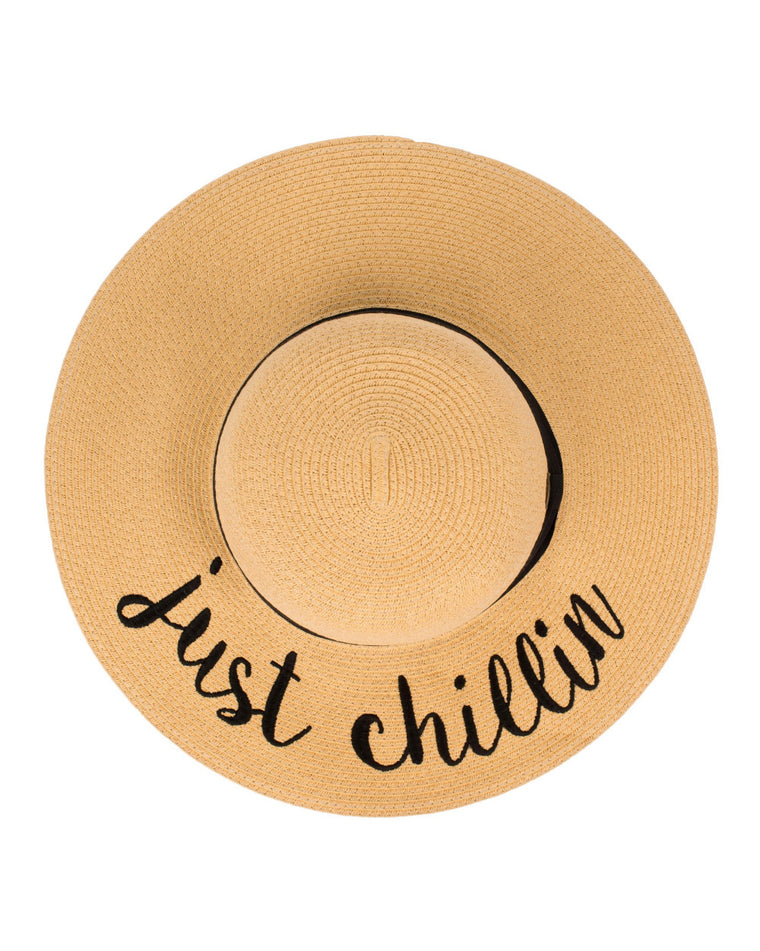 Just Chillin' Floppy Straw Hat