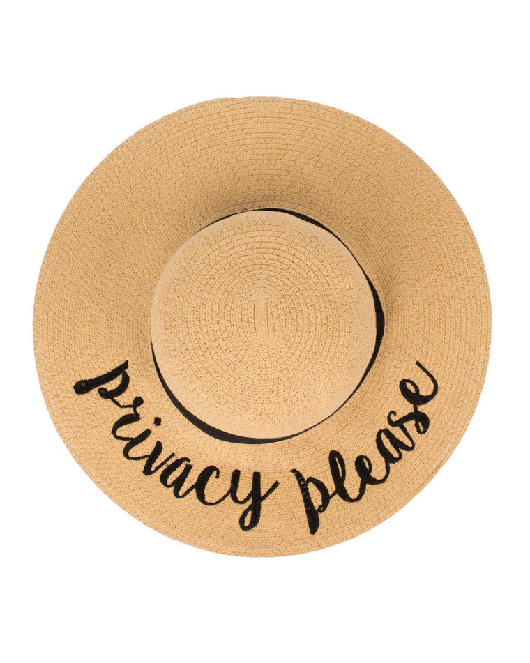 Privacy Please Floppy Straw Hat