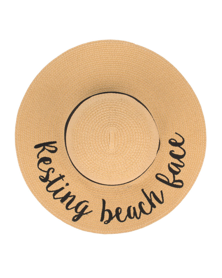 Resting Beach Face Floppy Straw Hat