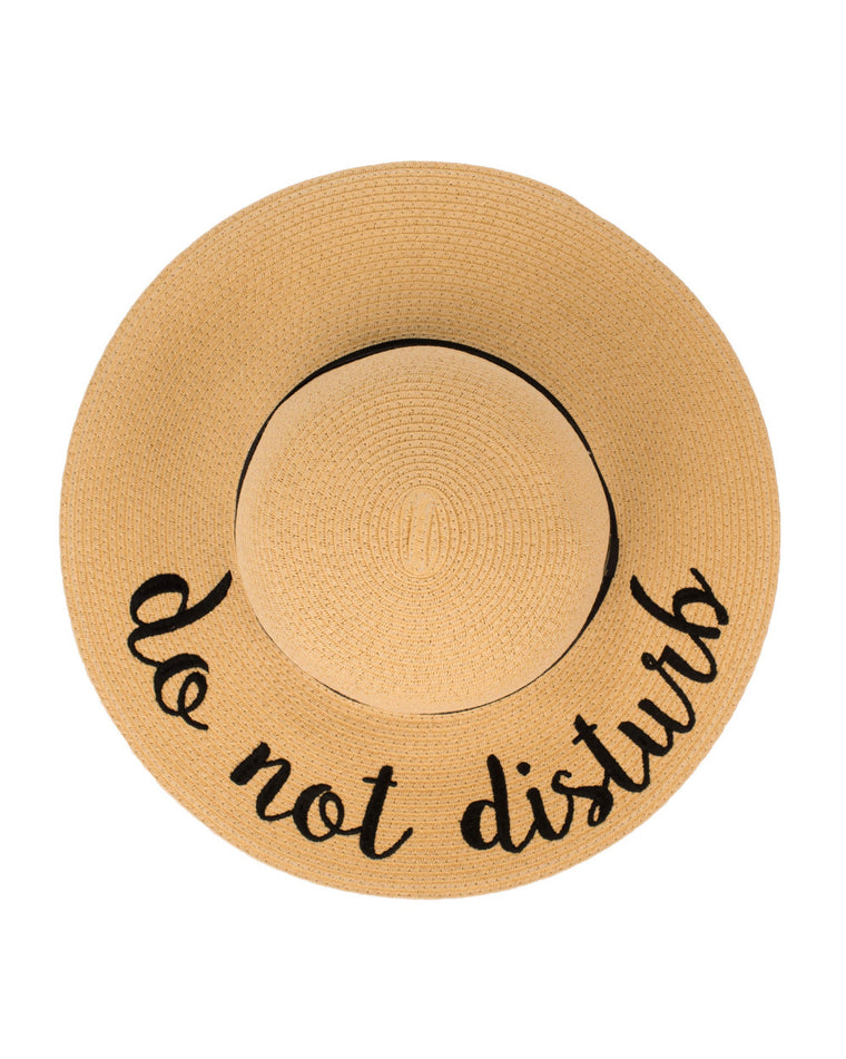 Do Not Disturb Floppy Straw Hat