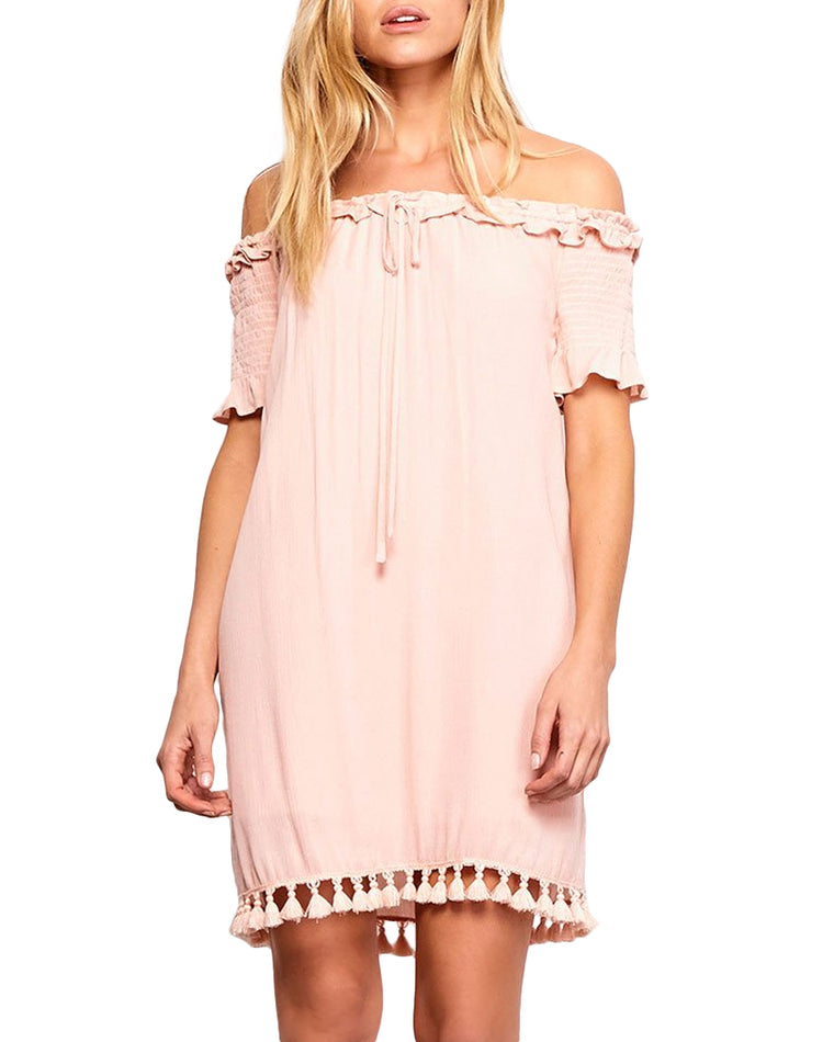 Carnes Off-the-Shoulder Tassel Dress