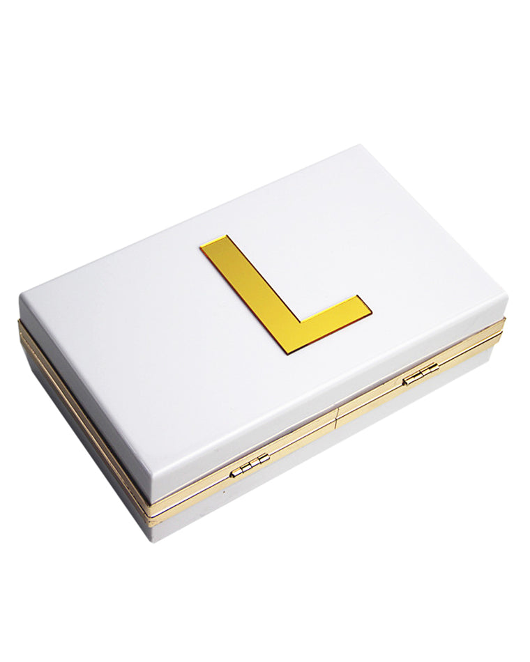 Gold Initial Box Clutch