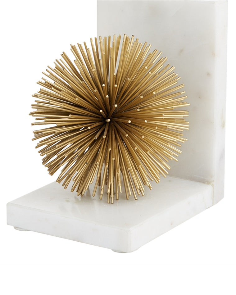 Gold Starburst Marble Bookends (Set of 2)