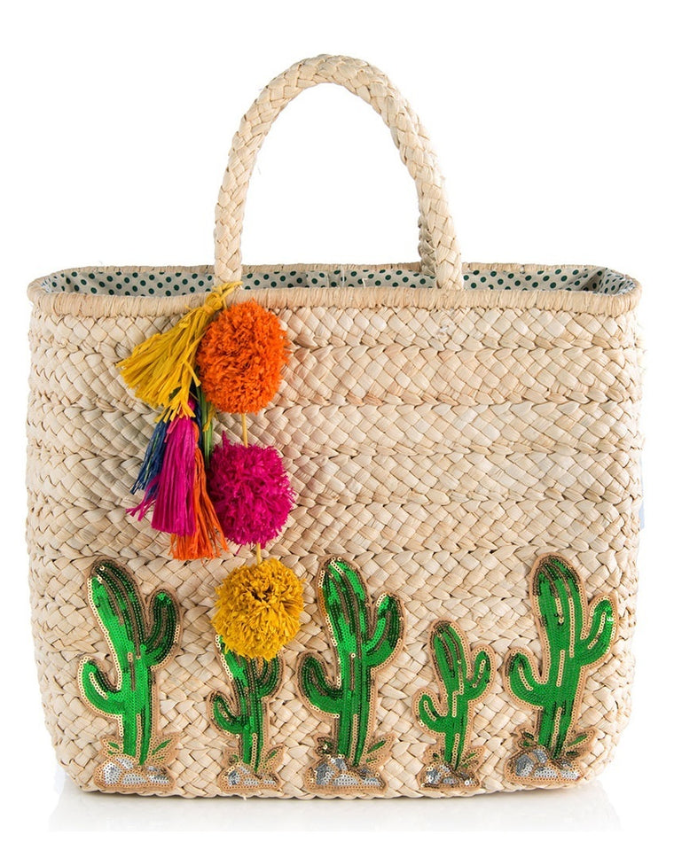 Cactus Woven Straw Tote