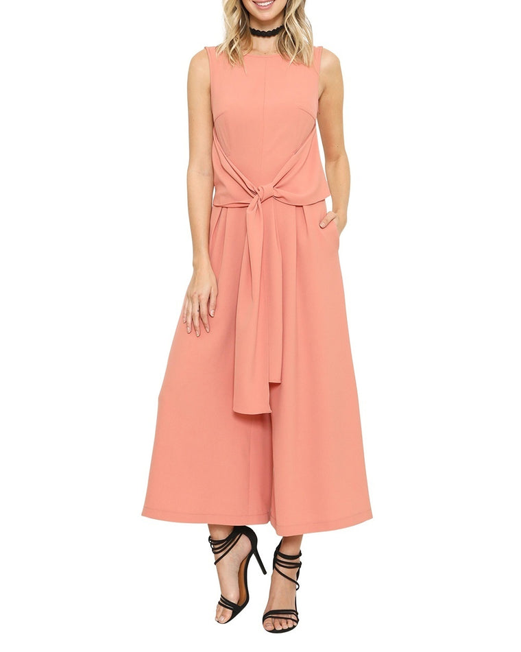 Tie Front Sleeveless Midi Jumpsuit