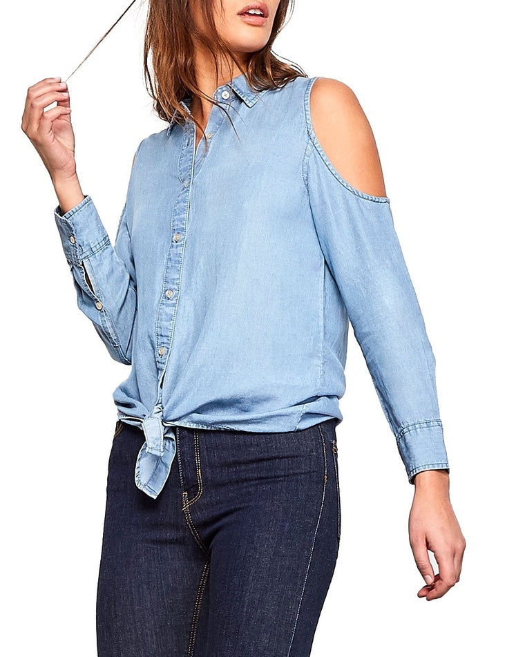 Corey Cold Shoulder Chambray Shirt
