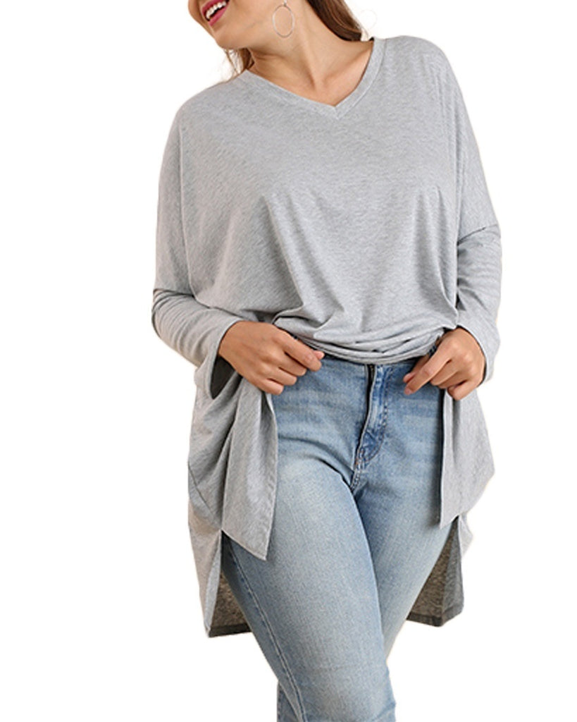 High-Low Long Sleeve Tee (Plus Size)