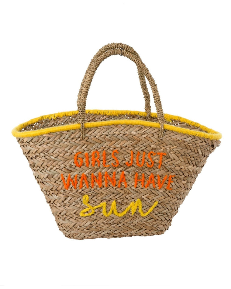 Girls Just Wanna Have Sun Straw Tote