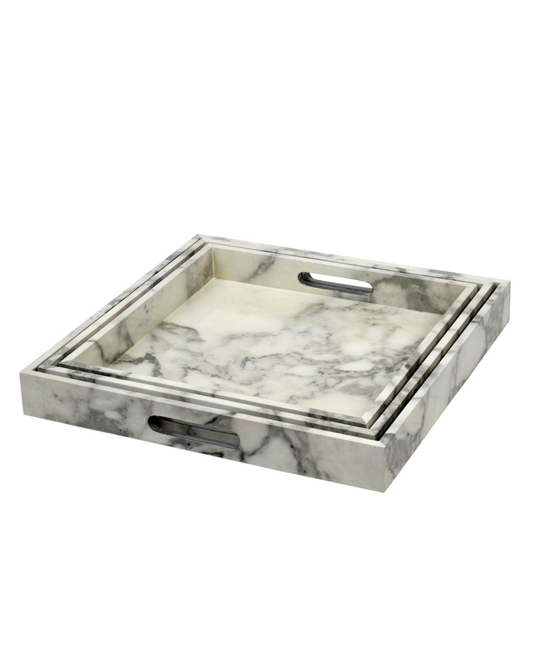 Marble Effect Stackable Tray Set (Set of 3)