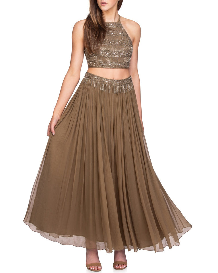 Dew Drop Embellished Two-Piece Maxi Dress