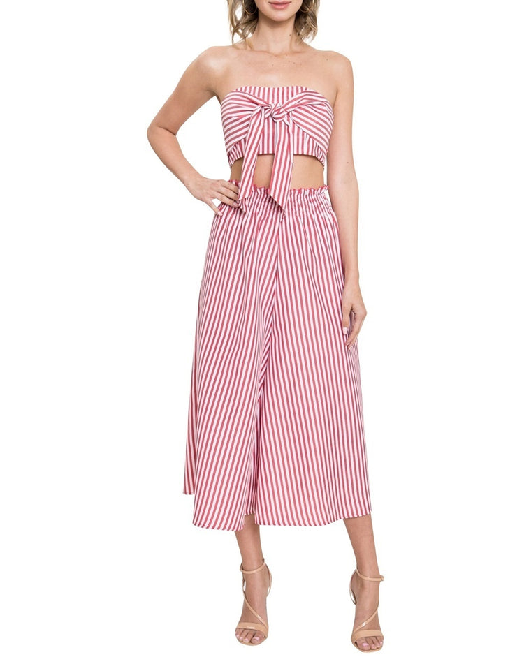 Striped Wide Leg Two-Piece Crop Jumpsuit