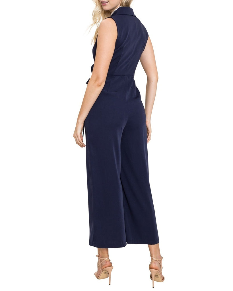 Navy Wrap Crop Jumpsuit