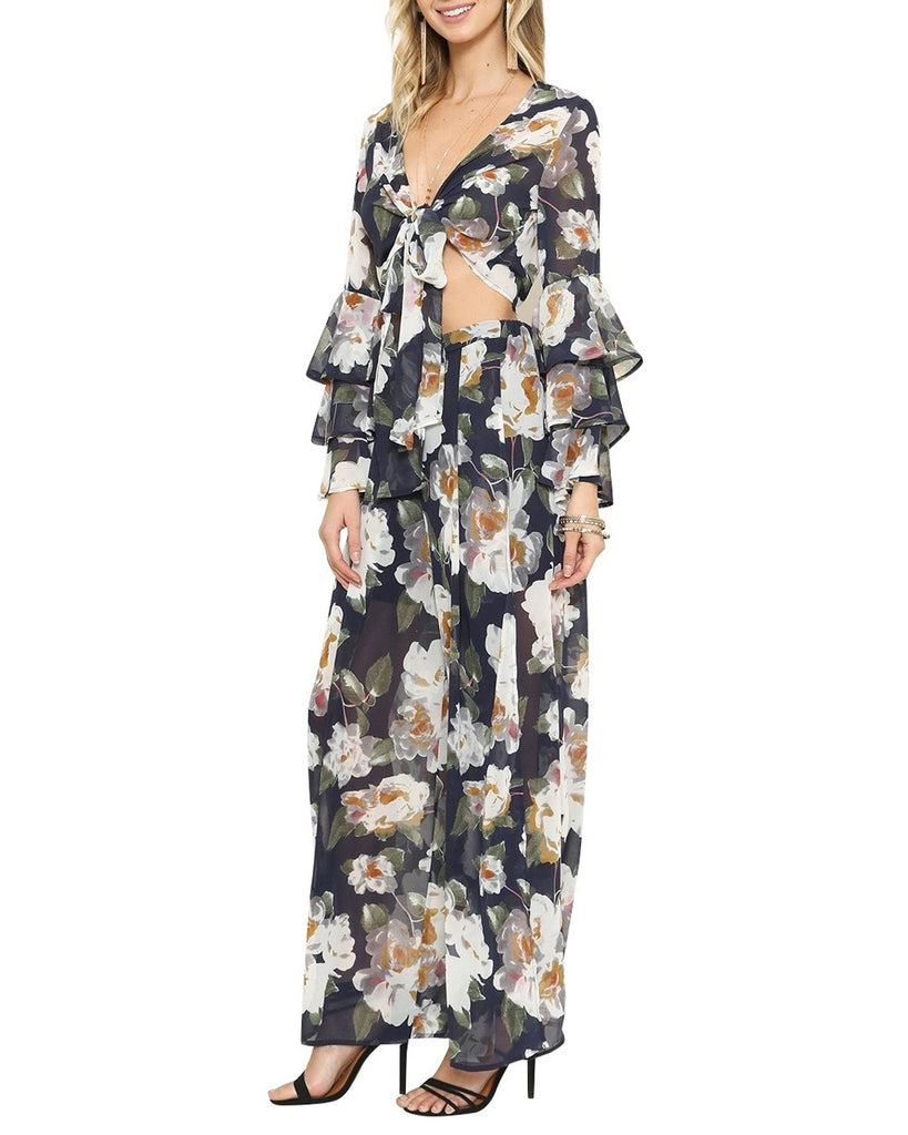 Navy Floral Print Chiffon Two-Piece Jumpsuit