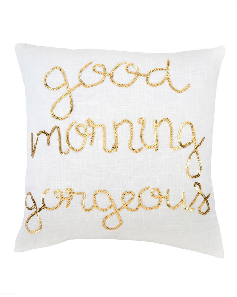 Good Morning Gorgeous Sequin Pillow