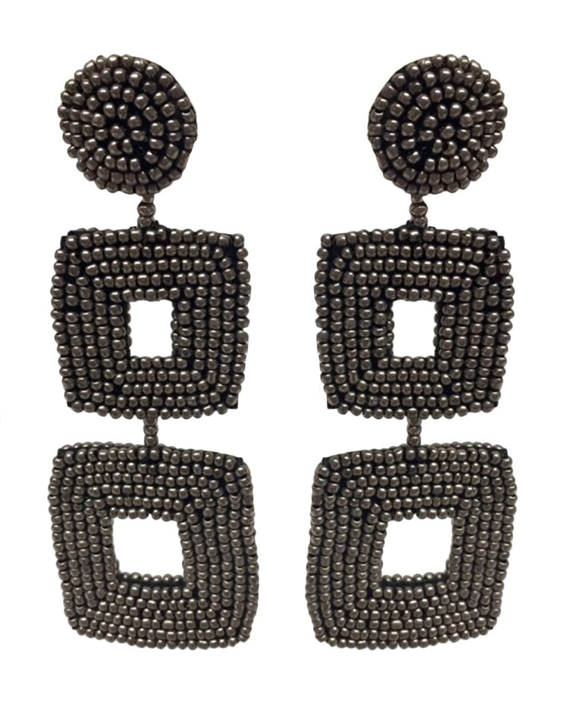 Double Square Seed Bead Clip-On Earrings