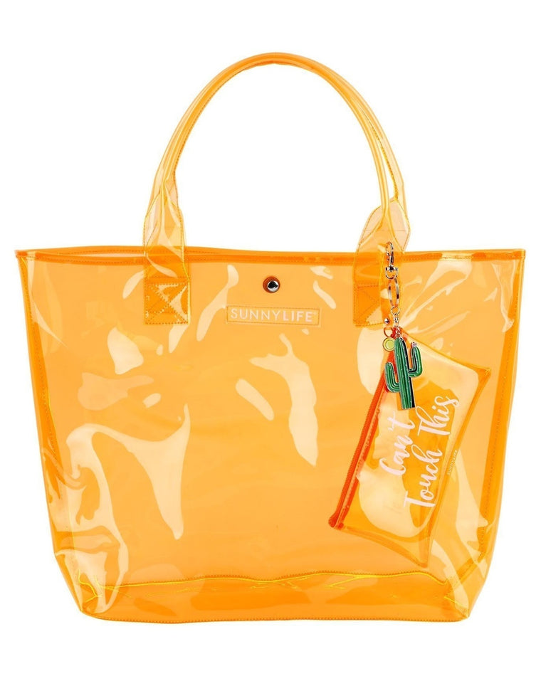 Orange Transparent Shopper Tote