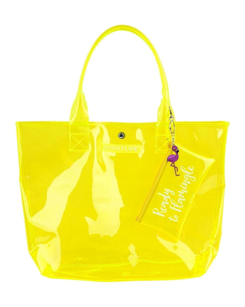 Neon Yellow Transparent Shopper Tote