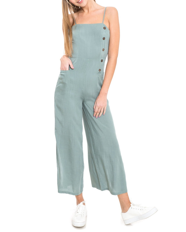 Button Crop Jumpsuit