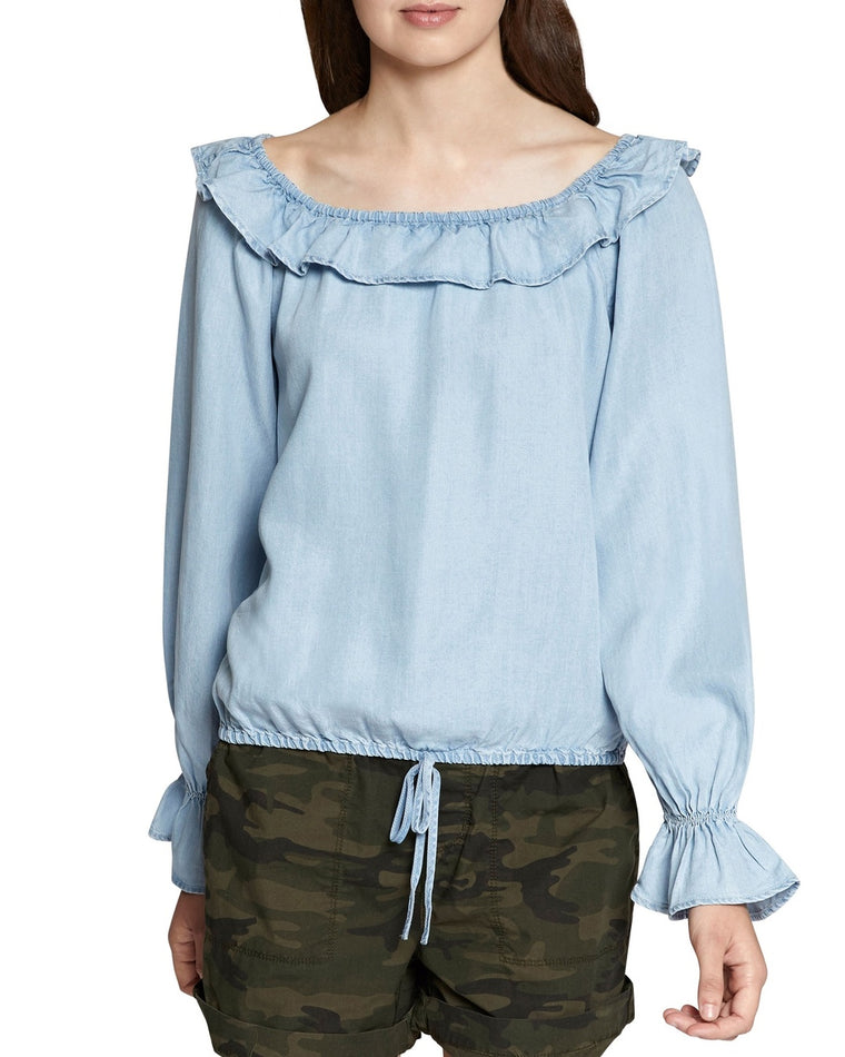 Ruffle Neck Peasant Top