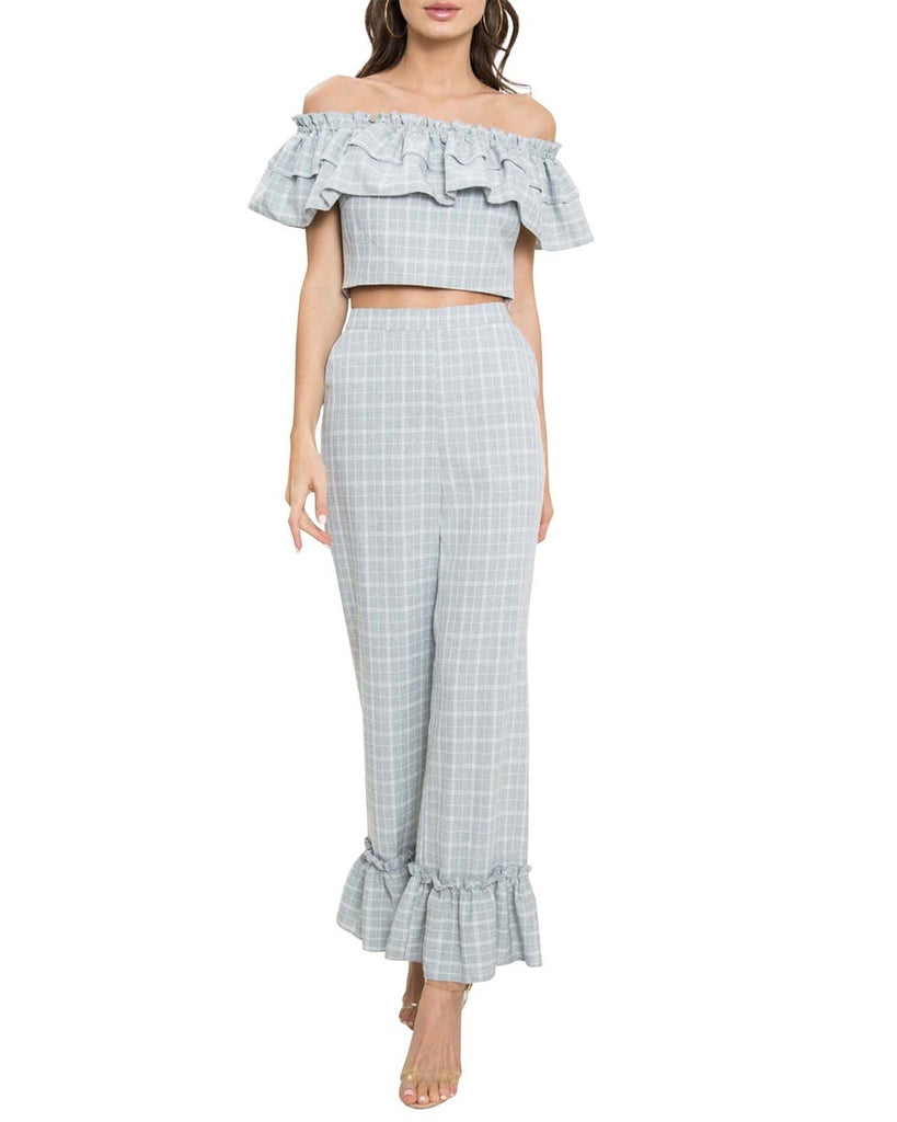 Plaid Ruffle Two-Piece Jumpsuit