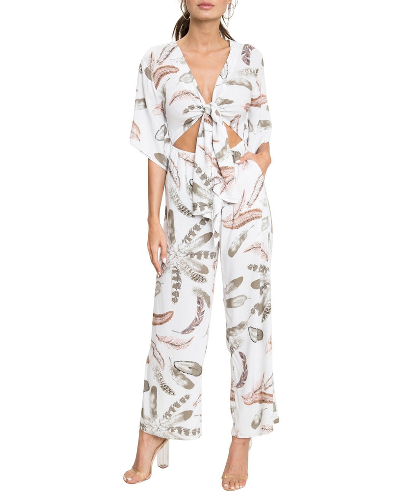Bohemian Feather Print High-Waisted Jumpsuit