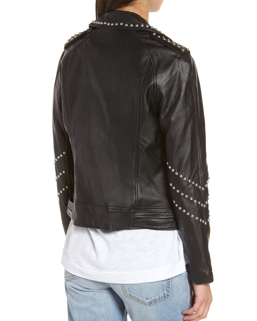 Jerilyn Studded Faux Leather Moto Jacket
